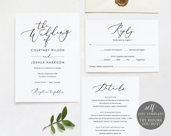 Wedding Invitation Set Template, TRY BEFORE You BUY, Printable Wedding Invite Template, 100% Editable, Calligraphy, Instant Download