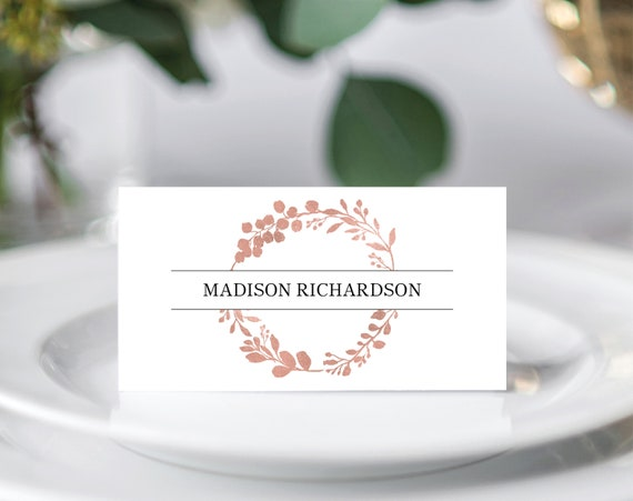 Rose Gold Escort Card Template, Printable Escort Cards, Rose Gold Place Cards Template, Wedding Name Cards, PDF Instant Download, MM07-7