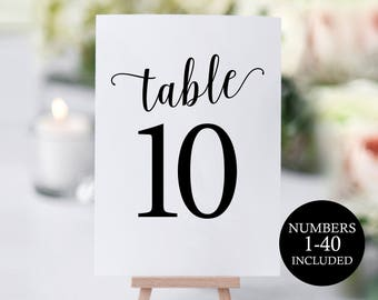 Table Number Template, Table Numbers, Printable Table Numbers, Table Numbers Wedding, Calligraphy, 4x6, 5x7, PDF Instant Download, MM01-1