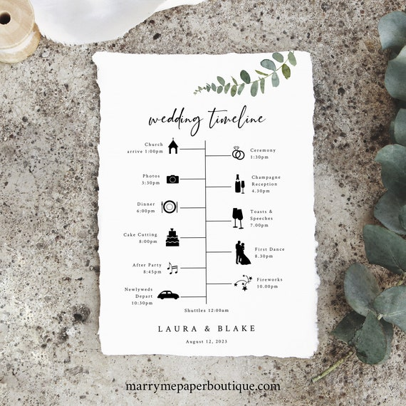 Eucalyptus Wedding Itinerary Card Template, Greenery Itinerary, Printable, Templett, Editable, INSTANT Download