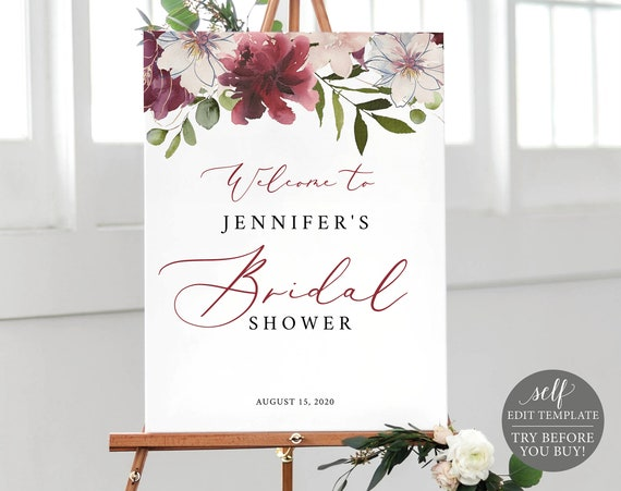 Bridal Shower Welcome Sign, Fully Editable Template, Instant Download, Burgundy Floral, TRY BEFORE You BUY