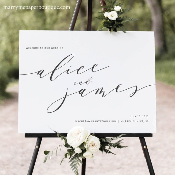 Elegant Wedding Welcome Sign Template, Modern Wedding Sign Printable, Templett Editable, Instant Download