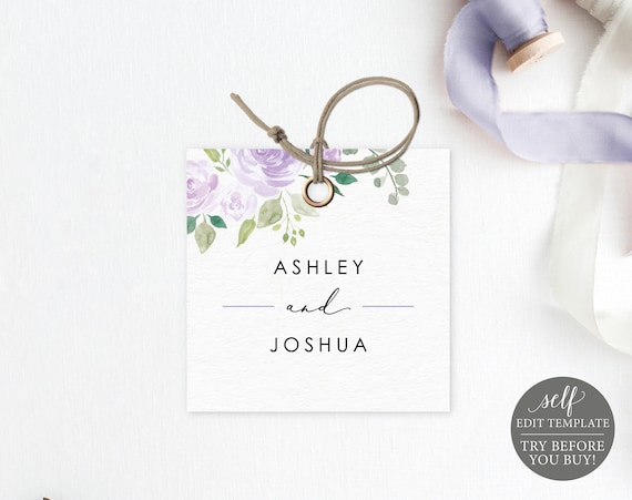 Square Label Tag Template, Editable Instant Download, TRY BEFORE You BUY, Lilac Floral