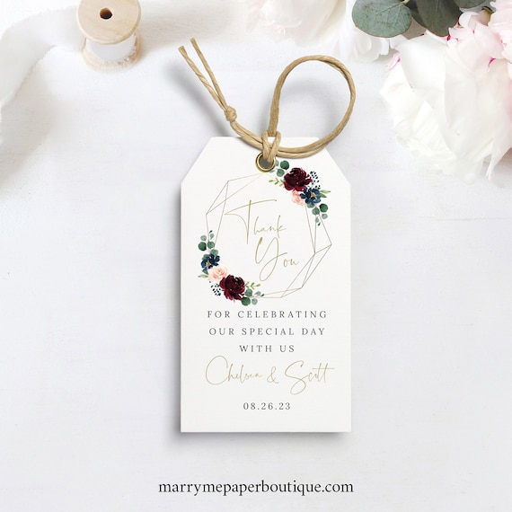 Wedding Favor Tag Template, Gift Tag, Printable, Burgundy Geometric, Navy, Editable, Templett, INSTANT Download