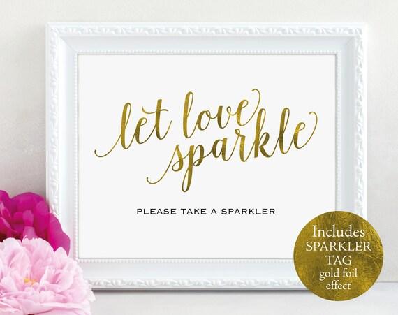 Gold Wedding Sparkler Tag and Sign, Let Love Sparkle, Sparkler Tag, Sparkler Sign, Printable Sparkler, PDF Instant Download, MM01-3