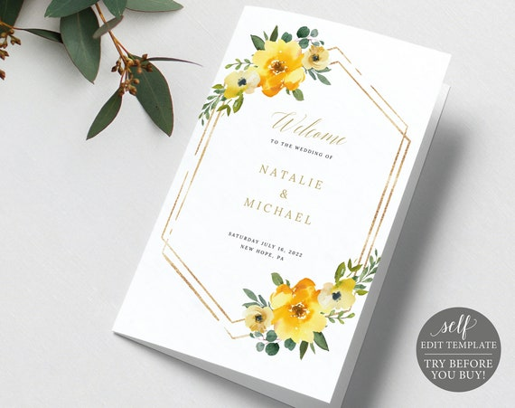 Wedding Program Template, Yellow Floral, Demo Available, Editable & Printable Instant Download