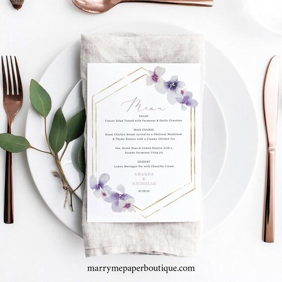 Wedding Menu Card Template, Delicate Lilac Flowers, Wedding Table Menu, Purple Hydrangea, Printable, Editable, Templett INSTANT Download