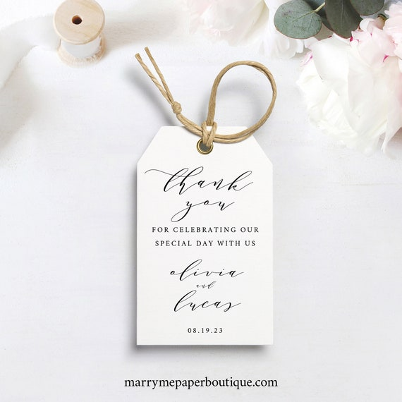 Thank You Tag Template, TRY BEFORE You BUY, 100% Editable Instant Download, Elegant Wedding Favor Tag Printable