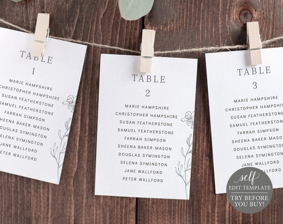 Wedding Seating Chart Template, Elegant Botanical, Editable Instant Download, TRY BEFORE You BUY