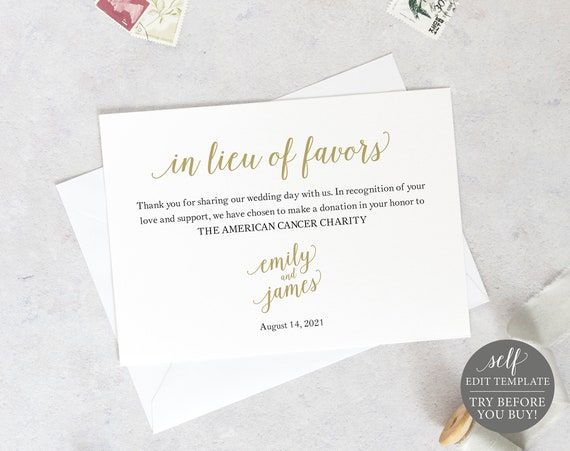 In Lieu of Favors Card Template, Templett, TRY BEFORE You Buy, Editable & Printable Instant Download, Modern Script Gold