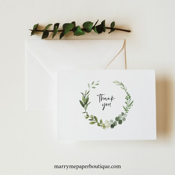 Thank You Card Template Folded, Elegant Greenery, Try Before Purchase, Editable & Printable, Templett Instant Download