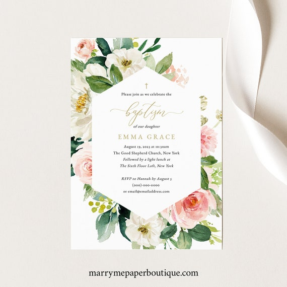 Floral Baptism Invitation Template, Blush & White Flowers, Baptism Invite Printable, Editable, Templett, INSTANT Download