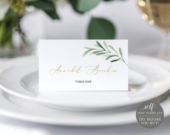 Place Card Template, TRY BEFORE You BUY, Greenery Leaf, Editable Instant Download