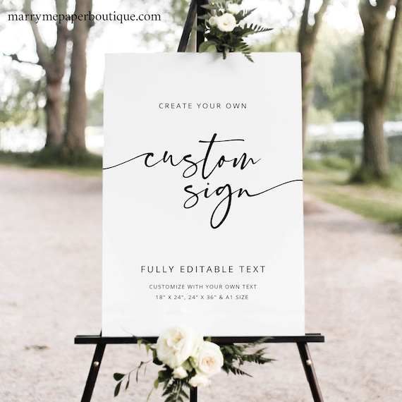 Wedding Sign Template, Modern Calligraphy, Self Edit, Large Wedding Sign, Printable, Poster, Editable, Templett INSTANT Download, Portrait