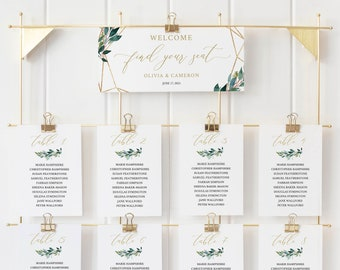 Seating Chart Sign Template, Greenery Geometric Cards, TRY BEFORE You BUY, Editable Instant Download