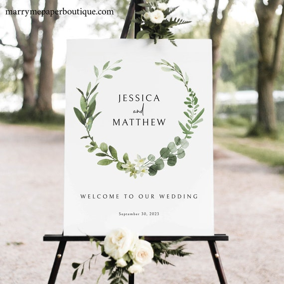 Wedding Welcome Sign Template, Elegant Greenery Wedding Sign Printable, Try Before You Buy, Templett Instant Download