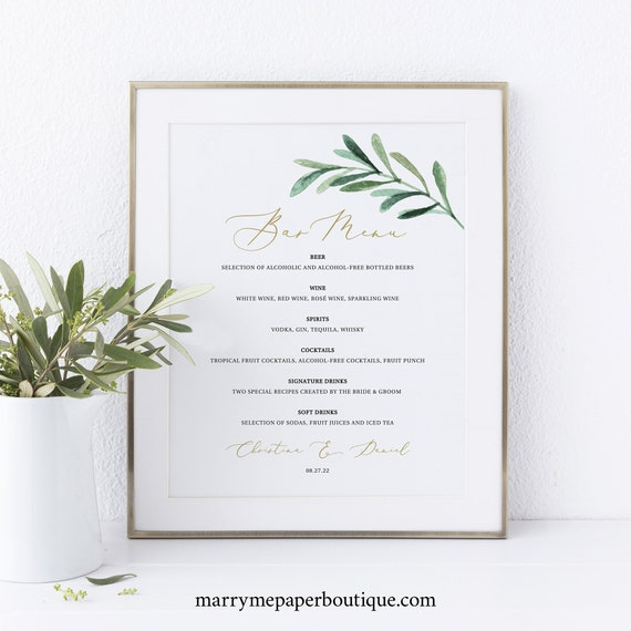 Bar Menu Template, Greenery Leaf, Instant Download, Editable & Printable Drinks Menu, Templett, Try Before You Buy