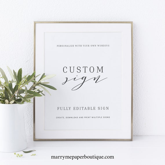 Create Multiple Signs Template,  Editable Instant Download, Formal & Elegant, TRY BEFORE You BUY