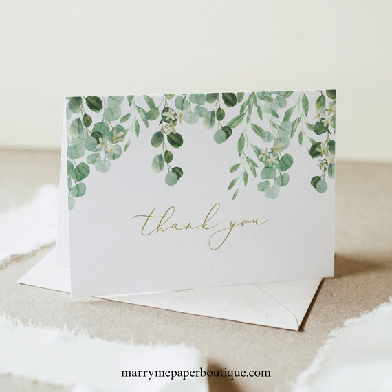 Thank You Card Template, Garden Greenery, Templett, Editable, Instant Download, Folded Card Printable