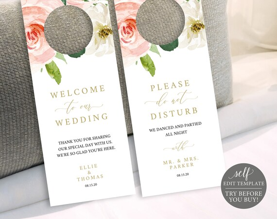 Door Hanger Template, TRY BEFORE You BUY, Editable Instant Download, Blush Floral