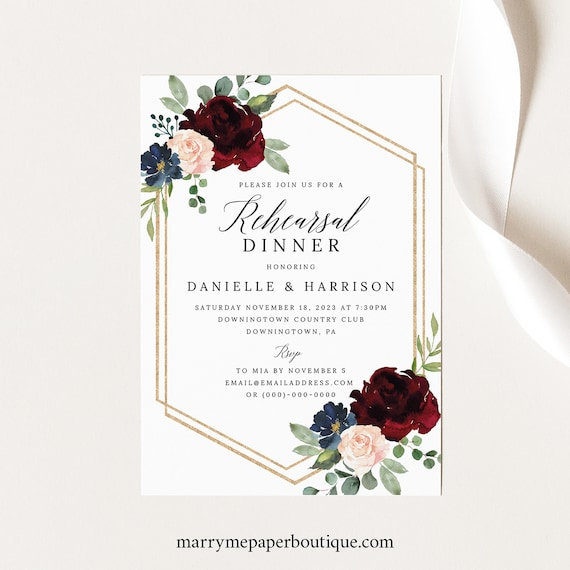 Rehearsal Dinner Invitation Template, Order Edit & Download In Minutes, Try Before Purchase, Burgundy Navy