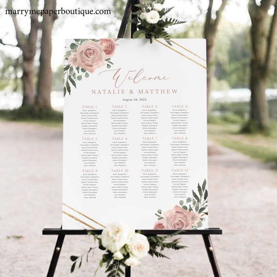 Wedding Seating Chart Template, Dusky Pink Floral, Printable Seating Plan Sign, Editable, Templett INSTANT Download