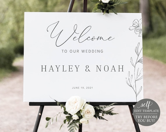 Wedding Welcome Sign Template, Elegant Botanical, Editable Instant Download, TRY BEFORE You BUY