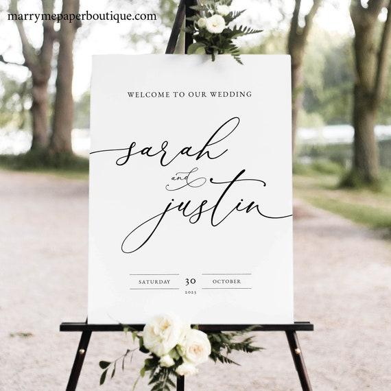 Classic Wedding Welcome Sign Template, Elegant Wedding Sign Printable, INSTANT Download, Templett, Fully Editable