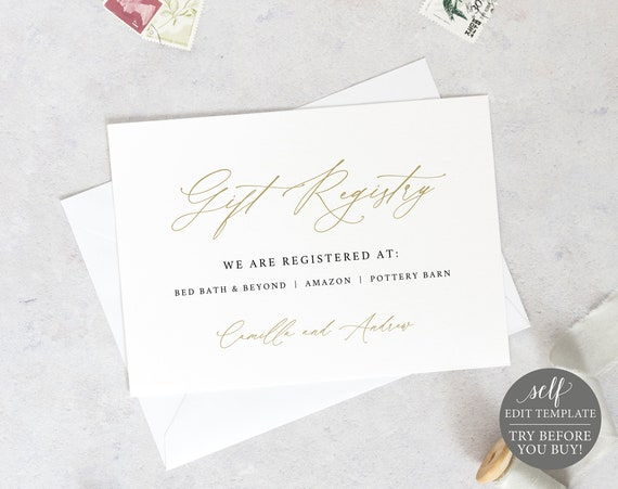 Gift Registry Card Template, Stylish Gold Script, Demo Available, Printable Editable Instant Download