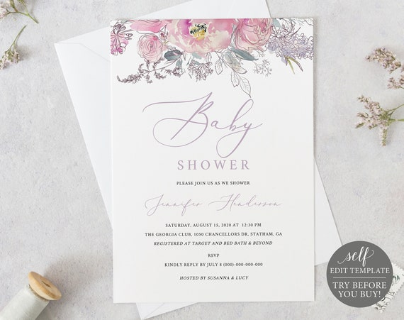 Baby Shower Invitation Template,  Pink & Lilac Floral, Fully Editable Instant Download, TRY BEFORE You BUY