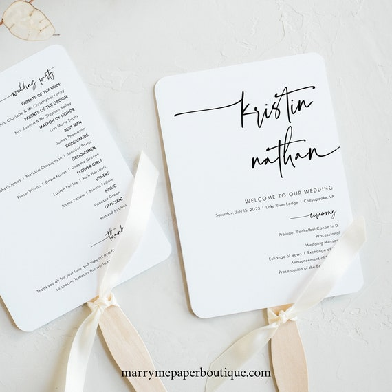 Wedding Program Fan Template, Modern Contemporary, Clean Simple Wedding Fan Program, Printable, Editable, Templett INSTANT Download