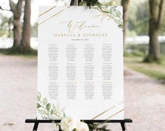 Wedding Seating Chart Template, Greenery Hexagonal, Printable Wedding Seating Plan Sign, Templett INSTANT Download, Editable