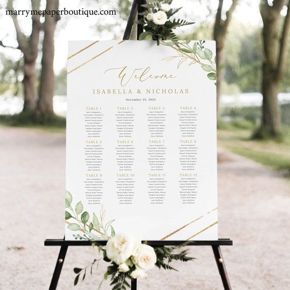 Wedding Seating Chart Template, Greenery Hexagonal, Printable Wedding Seating Plan Sign, Templett INSTANT Download, Editable