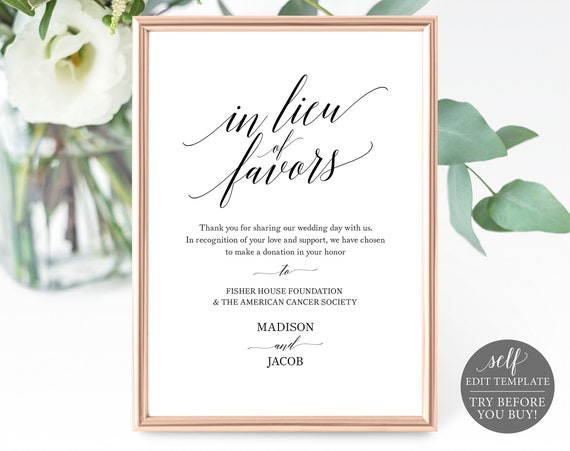 In Lieu of Favors Sign Template, Elegant Calligraphy, Editable Instant Download, TRY BEFORE You BUY