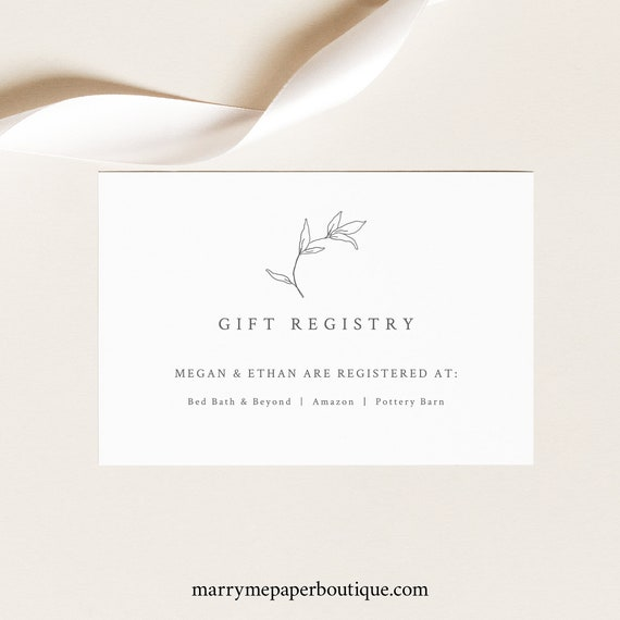 Wedding Gift Registry Card Template, Botanical Leaf, Gift Registry Card, Printable, Fully Editable, Templett INSTANT Download