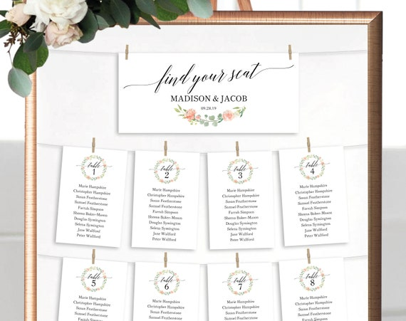 Floral Wedding Seating Chart Template, Printable Seating Plan Template, Seating Cards, Wedding Seating Template, Instant Download, MM07-8