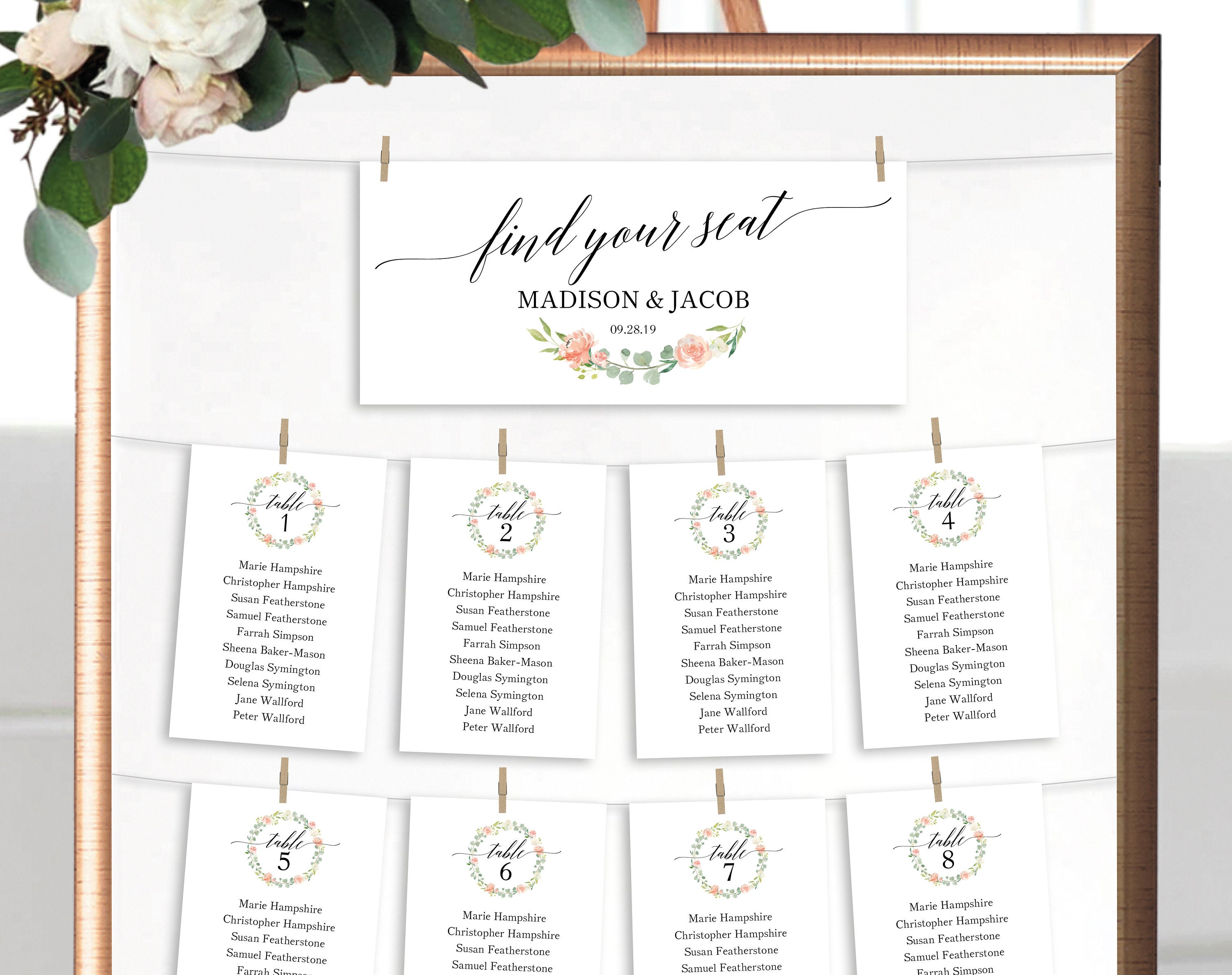 floral wedding seating chart template printable seating plan
