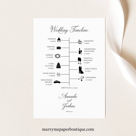 Wedding Timeline Card Template, Traditional Wedding, Calligraphy, Printable Wedding Itinerary Card, Templett INSTANT Download, Editable