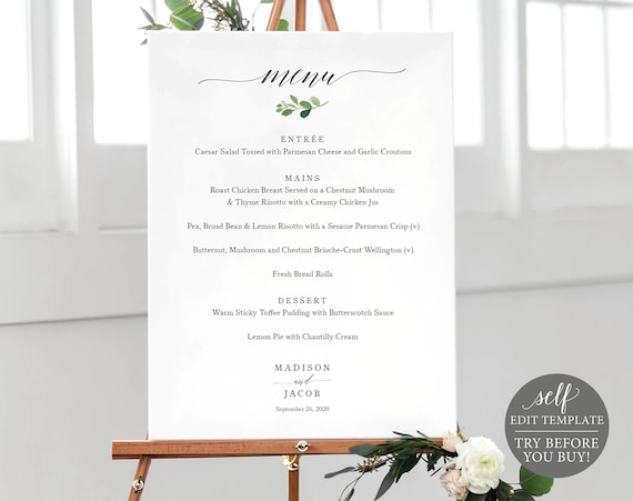 Wedding Menu Sign Template, TRY BEFORE You BUY, 100% Editable Menu Printable, Instant Download, Greenery