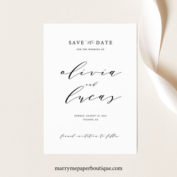 Save the Date Template, Elegant Script,  Editable Instant Download, TRY BEFORE You BUY