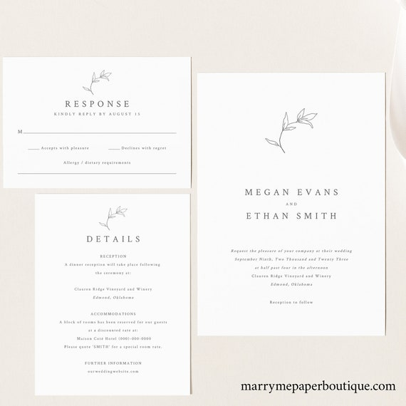 Wedding Invitation Template Set, Botanical Leaf Wedding Invite, Templett Instant Download, Try Before You Buy