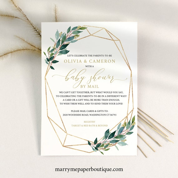 Baby Shower By Mail Invite Template, Greenery Geometric, Shower By Mail  Invitation Printable, Templett Instant Download
