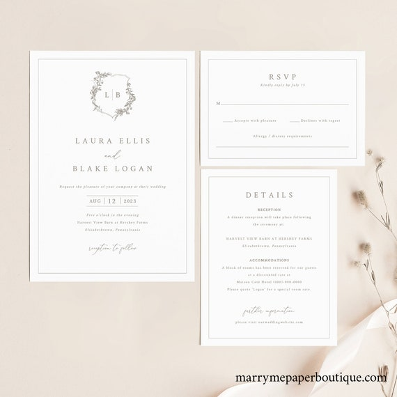 Wedding Invitation Template Set, Botanical Crest, Printable Wedding Invitation Suite, Fully Editable, Templett INSTANT Download