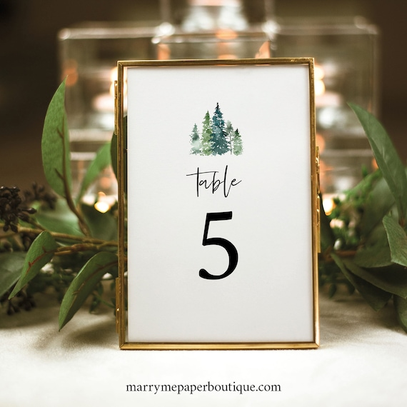 Pine Tree Table Number Sign Template, Rustic Pine Forest, Printable Table Number Card, Editable, Templett, INSTANT Download