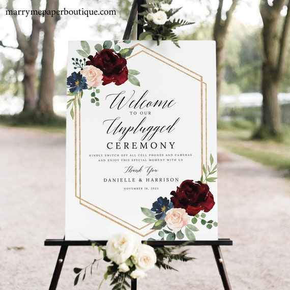 Unplugged Ceremony Sign Template, Burgundy Hexagonal, Demo Available, Printable Editable Instant Download