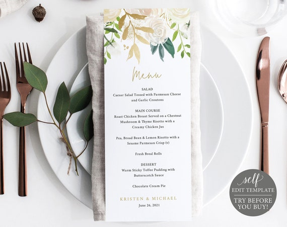Wedding Menu Template, TRY BEFORE You BUY, 100% Editable Instant Download, White & Gold Floral
