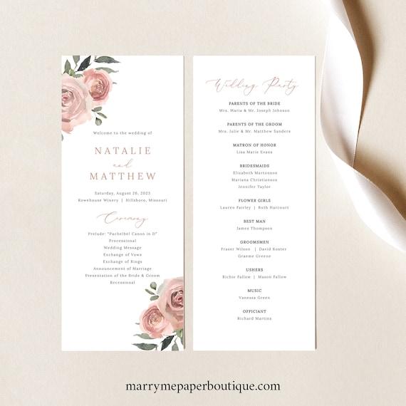 Wedding Program Template, Dusky Pink Floral, Wedding Ceremony Program, Printable, Dusty Pink, Templett INSTANT Download
