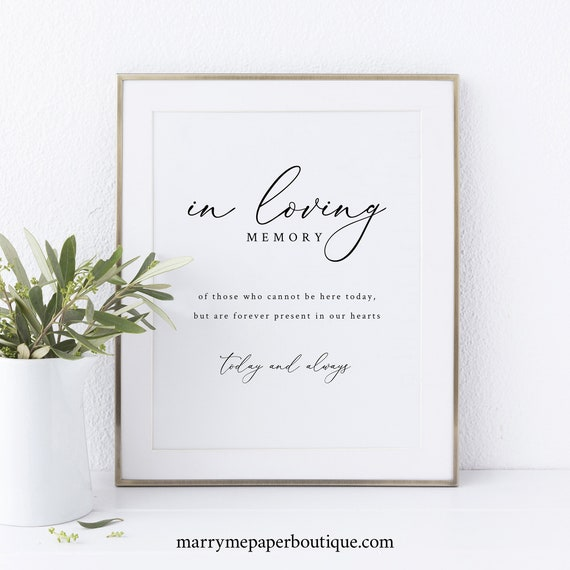 In Loving Memory Sign Template, Elegant & Refined, Printable Sign, Instant Download, Non-Editable