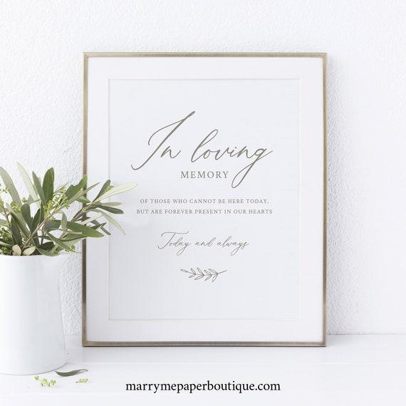 In Loving Memory Sign Template, Elegant Font, Instant Download, Printable, Non-Editable