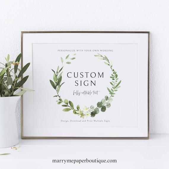 Wedding Sign Bundle Template Set, Elegant Greenery Wreath, Wedding Signs Printable, Editable, Templett INSTANT Download, Landscape